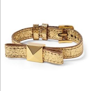 KATE SPADE Leather Wrap Bow Bracelet Gold